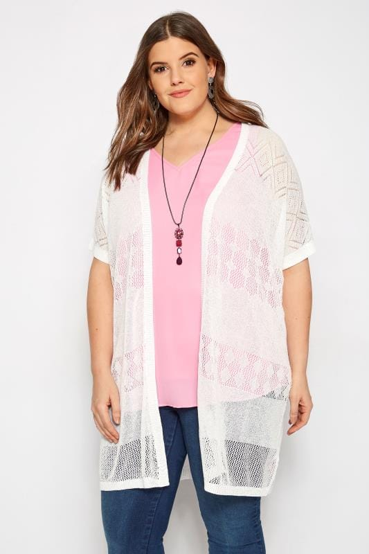 Plus Size Cardigans White Pointelle Knit Cardigan