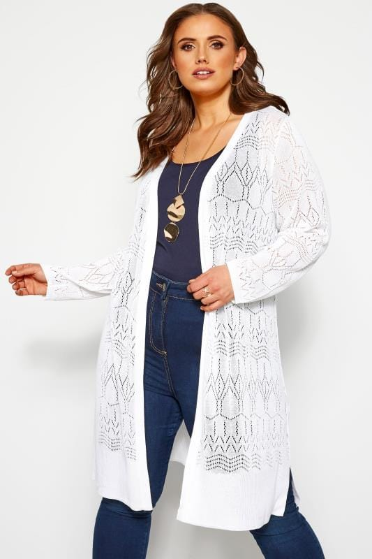 Plus Size Cardigans White Pointelle Stitch Midi Cardigan