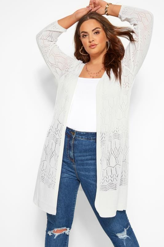 Plus-Größen Cardigans White Pointelle Stitch Midi Cardigan
