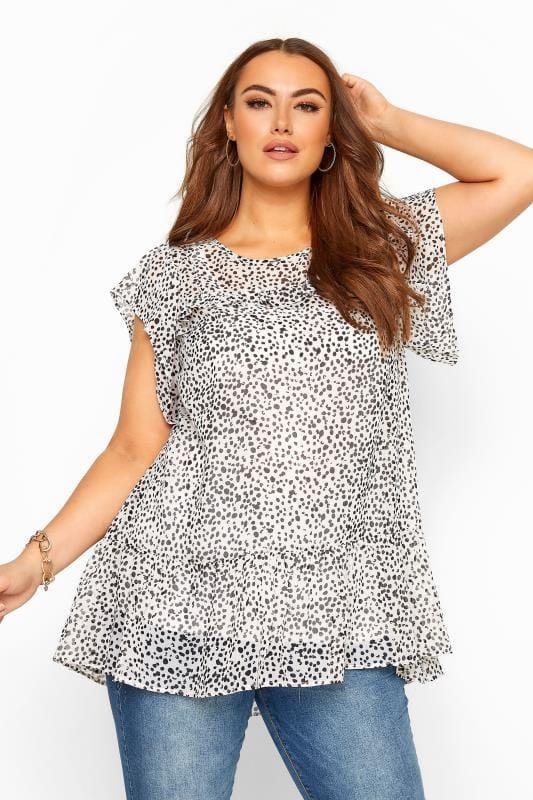 Plus Size Blouses White Polka Dot Frill Chiffon Blouse