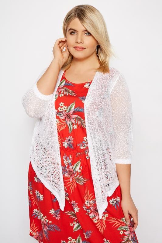 Plus Size Shrugs White Popcorn Crochet Cropped Shrug