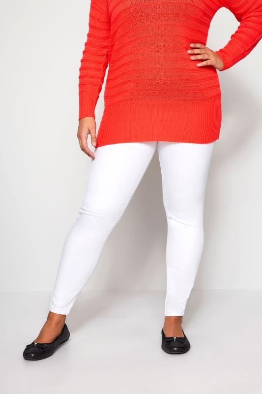 Plus Size Jeggings White Pull On JENNY Jeggings