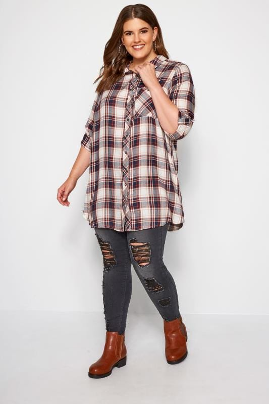 Burgundy Check Boyfriend Shirt