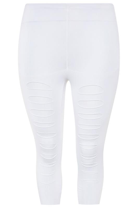 White Ripped Mesh Insert Cropped Leggings