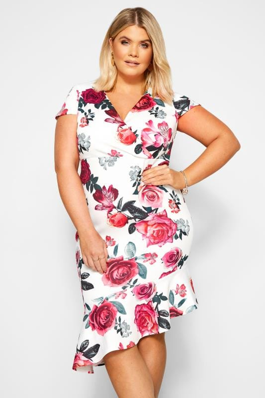 YOURS LONDON White Floral Ruffle Hem Dress