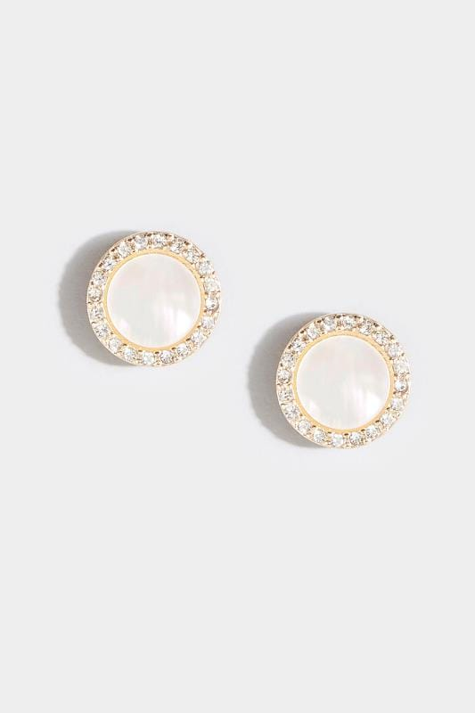 White Round Sparkle Stud Earrings