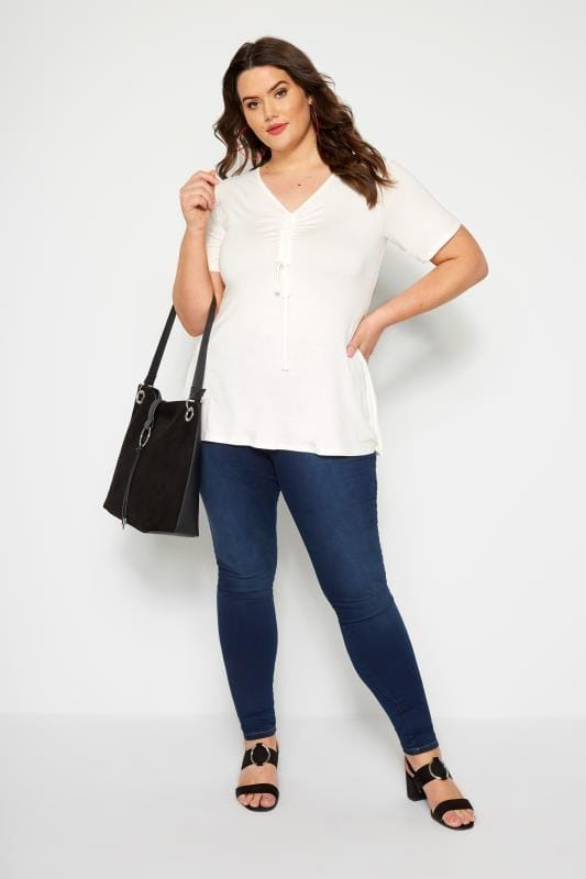 Ivory Ruched Front Top