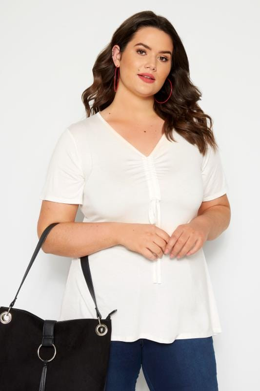 Plus Size Jersey Tops Ivory Ruched Front Top