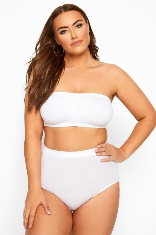 Plus Size Non-Wired Bras White Seamless Padded Bandeau Bra