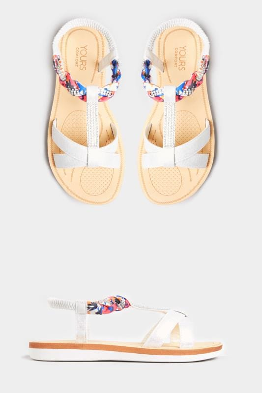 White Shimmer Diamante Plait Sandals In Extra Wide Fit