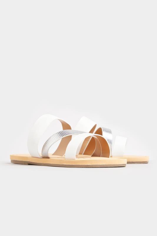 White Shimmer Strap Slider Sandals In Extra Wide Fit