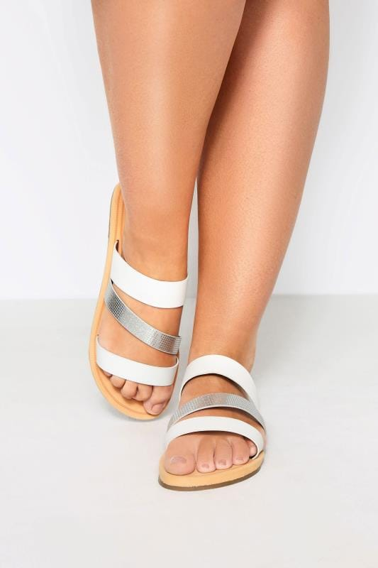 Wide Fit Sandals White Shimmer Strap Slider Sandals In Extra Wide Fit