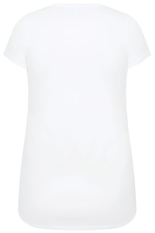 White Short Sleeved V-Neck Basic T-Shirt