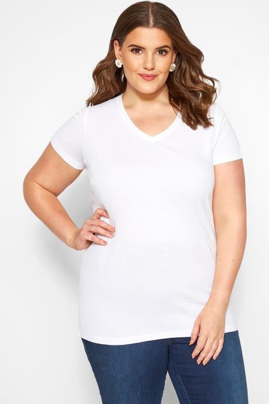 Basic T-Shirts & Vests Tallas Grandes White Short Sleeved V-Neck Basic T-Shirt