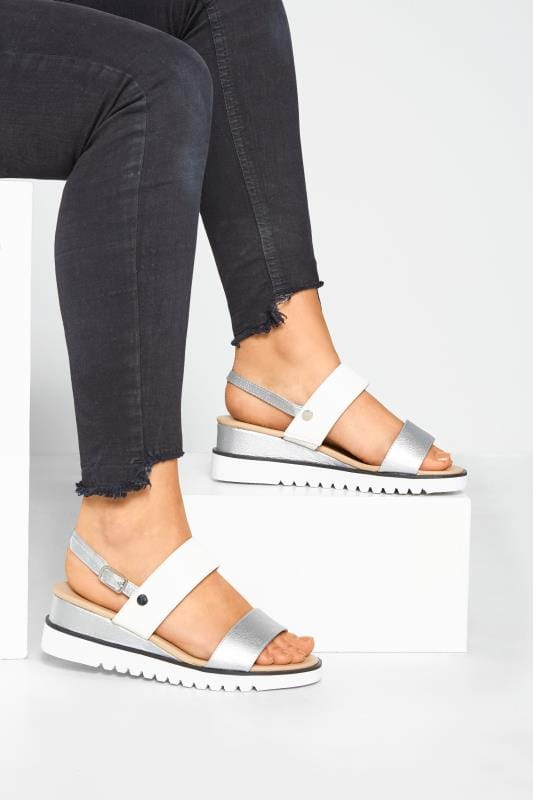 Wide Fit Wedges White & Silver Sporty Wedge Sandals In Extra Wide Fit