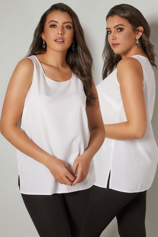 White Sleeveless Top With Side Splits, Plus size 16 to 36