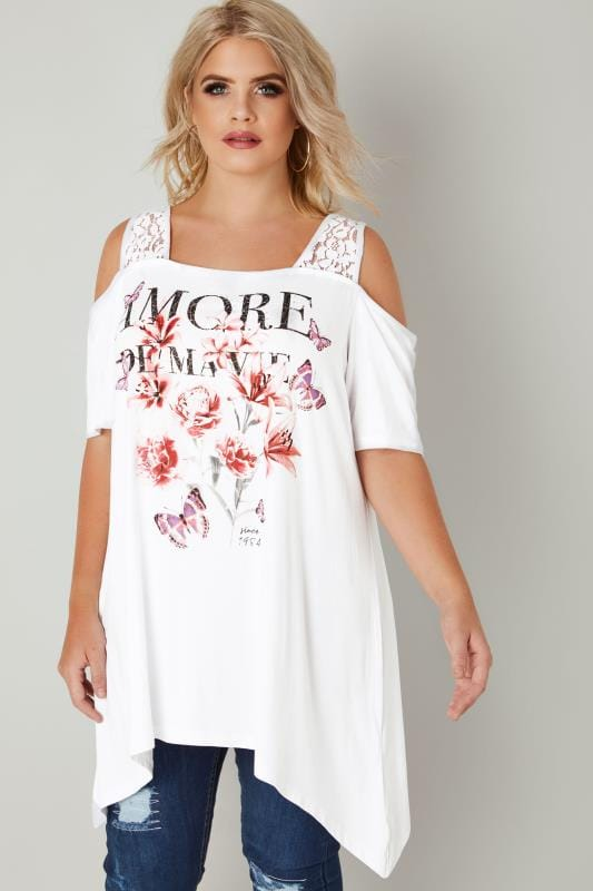 White Cold Shoulder Slogan Top With Diamante Details