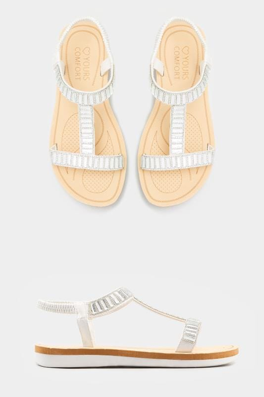 White Sparkle H-Band Sandals In Extra Wide Fit