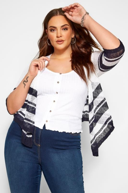 Plus Size Beauty White Stripe Border Waterfall Fine Knit Shrug