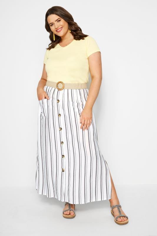 White Stripe Button Through Maxi Skirt