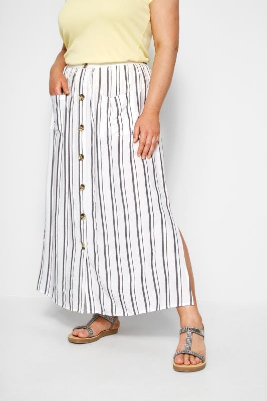 White Stripe Button Through Maxi Skirt