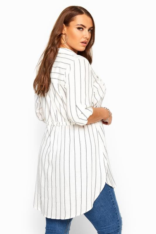 White Stripe Drawstring Waist Tunic