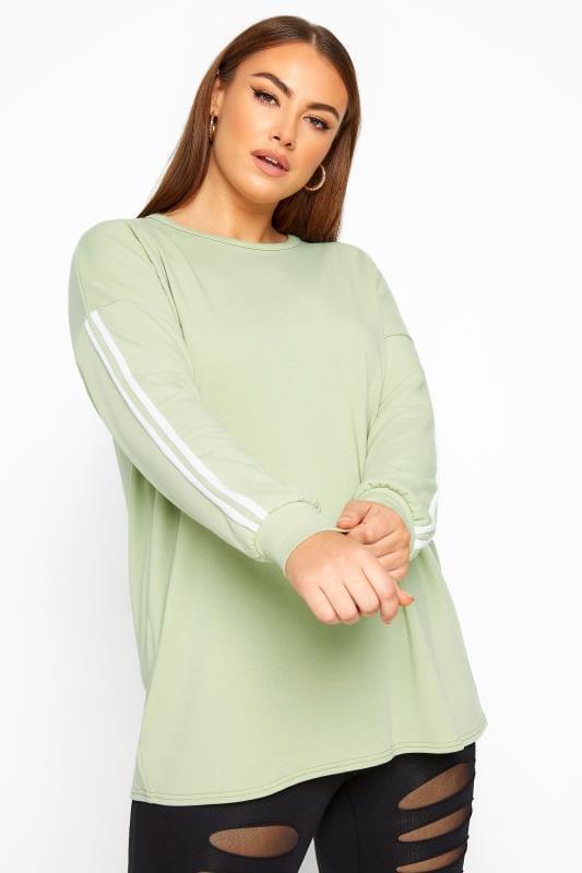Plus Size Sweatshirts LIMITED COLLECTION Sage Green Side Stripe Sweatshirt