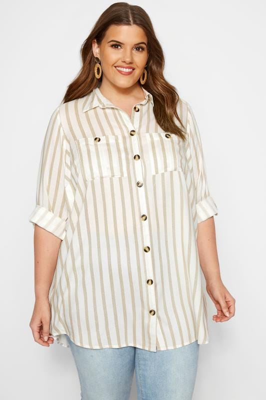 Plus Size Shirts White Stripe Utility Shirt