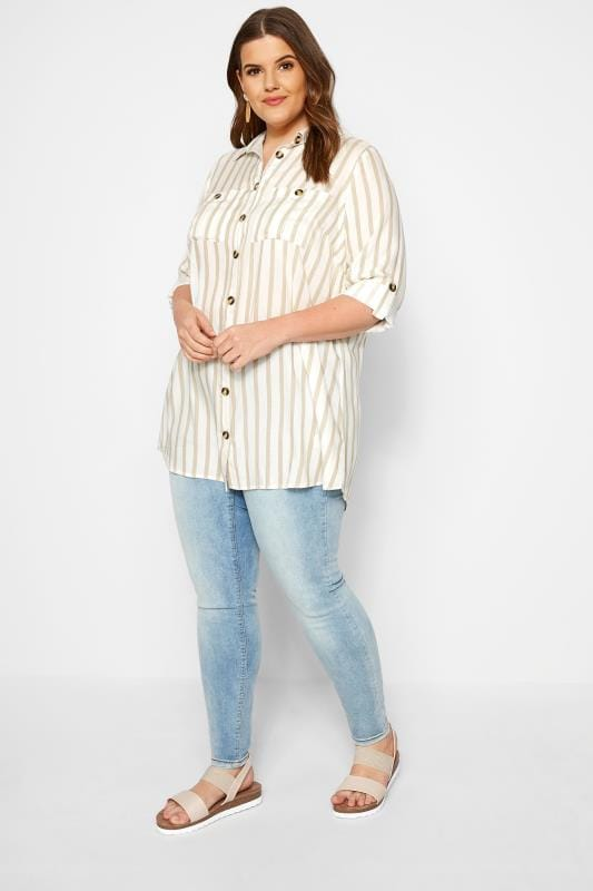 White Stripe Utility Shirt