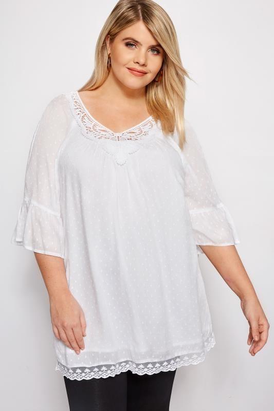 White Textured Crochet Blouse