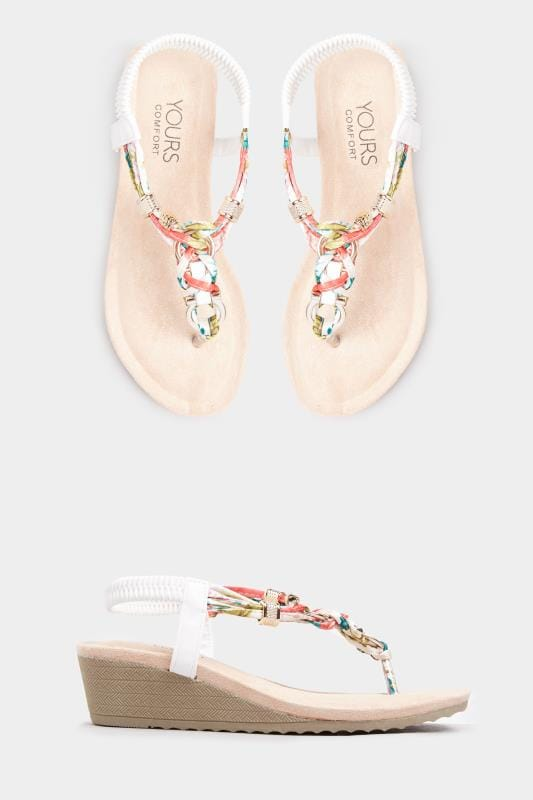 White Twist Gold Tone Heeled Sandals In Extra Wide Fit