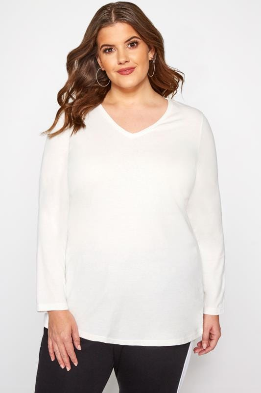 Plus Size Jersey Tops White V-Neck Long Sleeve Top