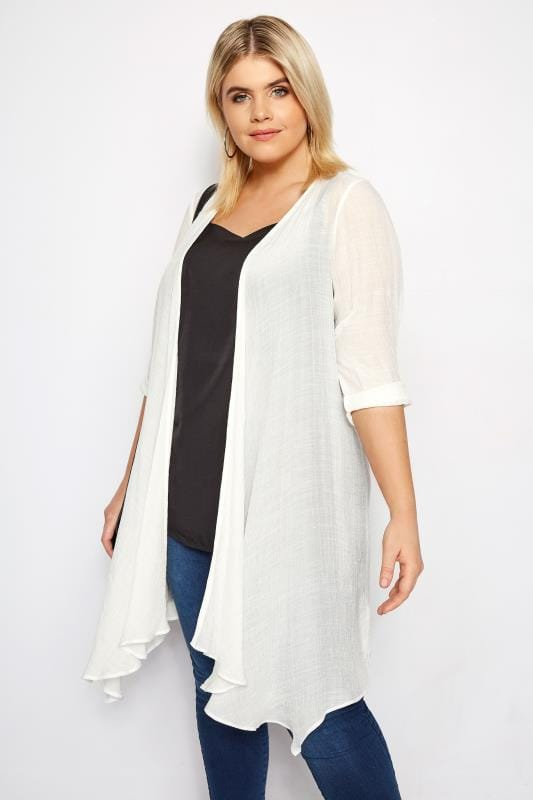 Plus Size White Waterfall Cover Up | Sizes 16 to 36 | Yours ...