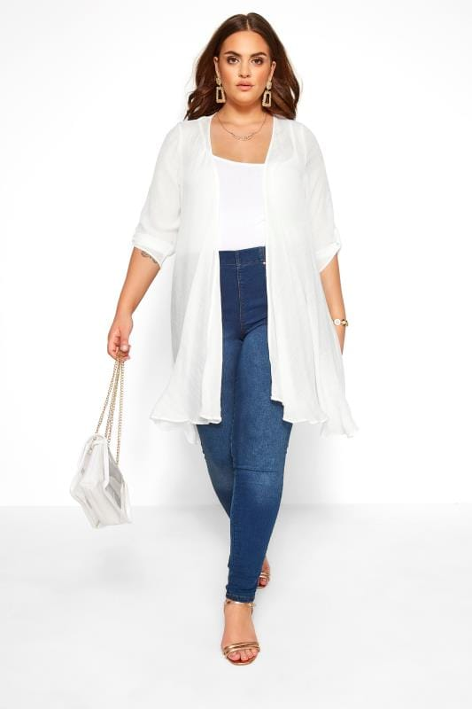 Plus Size Kimonos White Waterfall Cover Up
