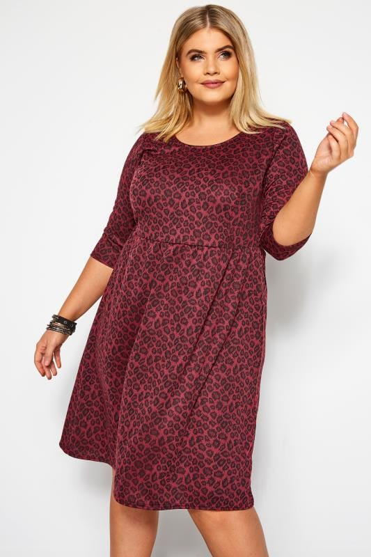 Plus Size Swing Dresses Wine Red Animal Print Smock Dress