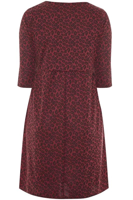 Wine Red Animal Print Smock Dress