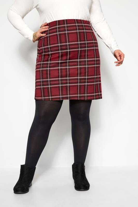 Plus Size Pencil Skirts Wine Red Check Mini Skirt