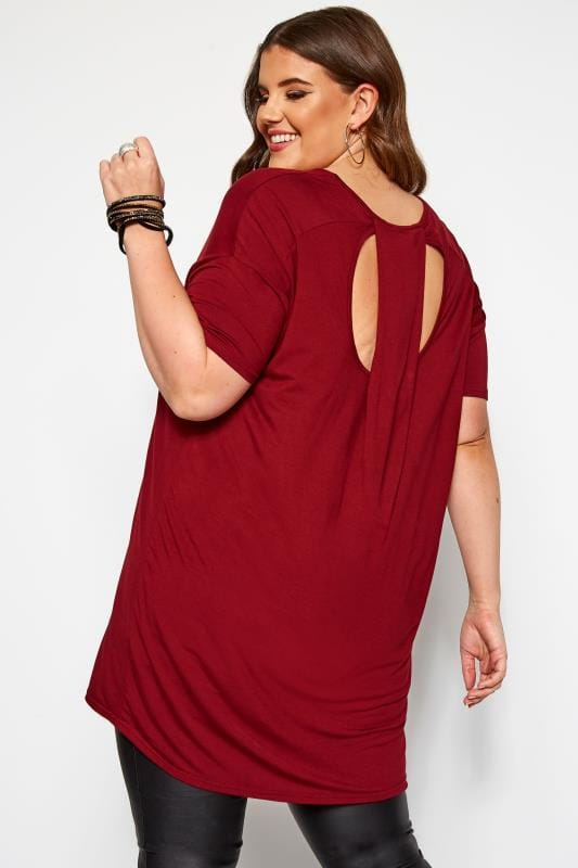 Plus Size Jersey Tops Wine Red Cut Out Longline Top