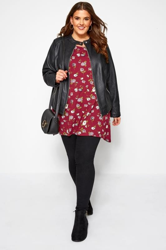 Plus Size Floral Tops Wine Red Daisy Print Hanky Hem T-Shirt