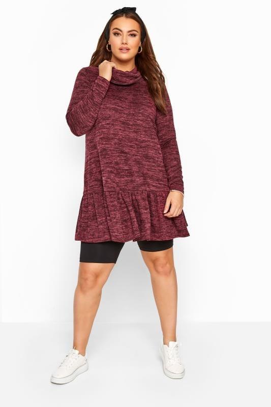 Plus Size Tunics Wine Red Marl Peplum Tunic