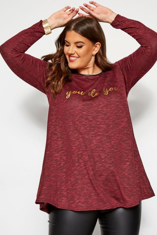 Knitted Tops & Jumpers Wine Red Marl 'You Do You' Slogan Swing Top