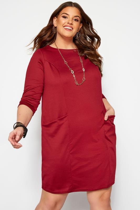 Plus Size Casual Dresses Wine Red Ponte Drape Pocket Dress