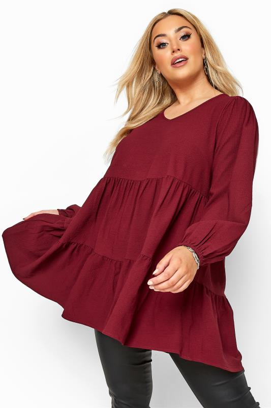 Plus Size Blouses Wine Red Tiered Smock Blouse