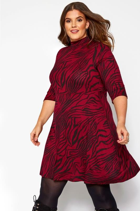Plus Size Jersey Dresses Wine Red Tiger Print Turtle Neck Dress