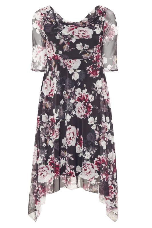 Black & Pink Floral Cowl Neck Mesh Dress