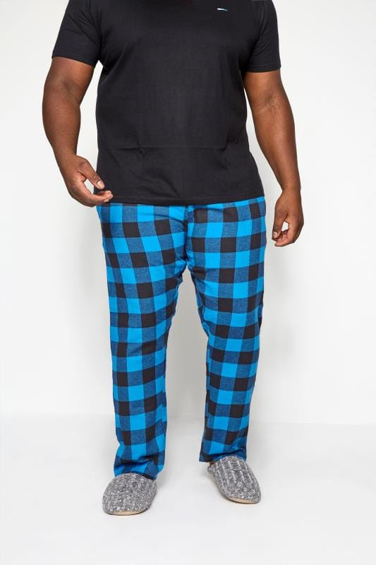 Plus Size Nightwear BadRhino Blue Woven Check Bottoms