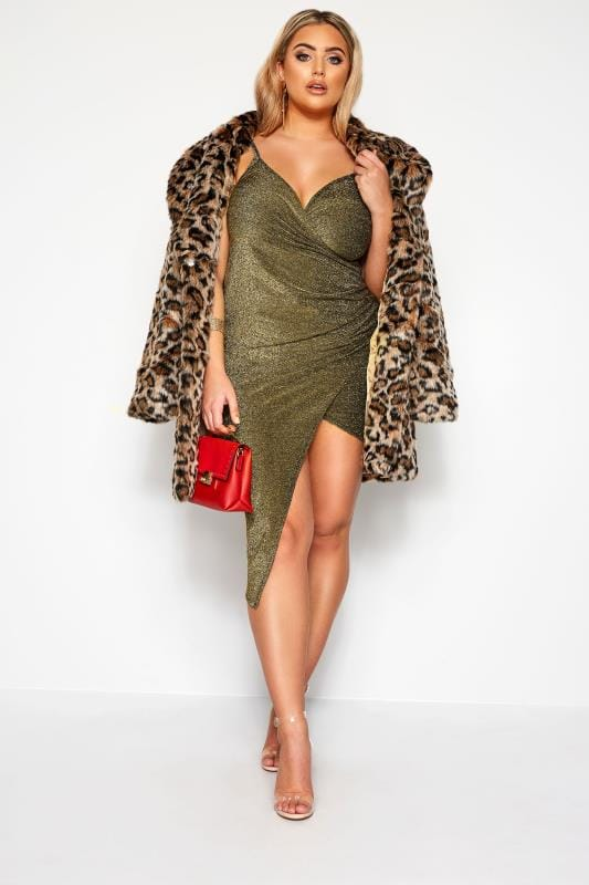 LIMITED COLLECTION Gold Glitter Wrap Dress