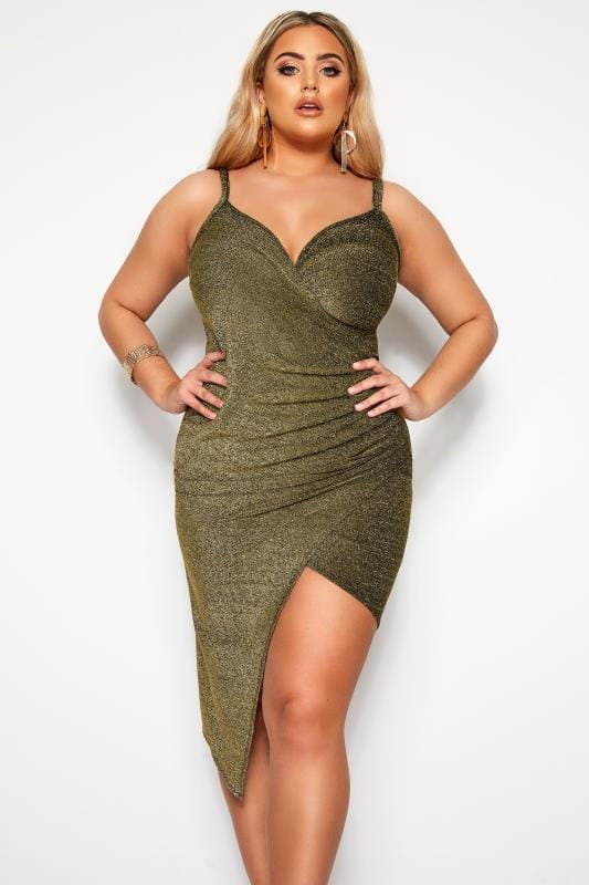 Plus Size Going Out Dresses LIMITED COLLECTION Gold Glitter Wrap Dress