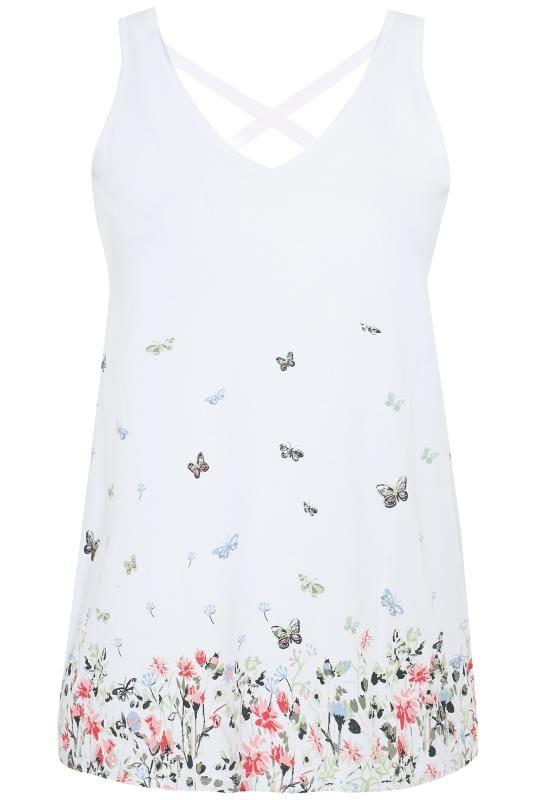 White Butterfly Border Print Cross Back Vest Top