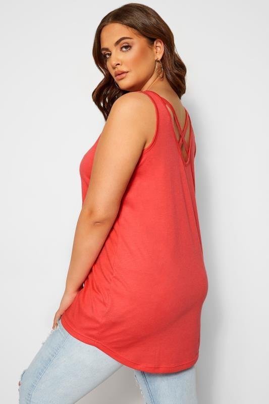Plus Size Vests & Camis Coral Pink Cross Back Vest Top